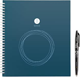 Rocketbook Wave Smart Notebook – Dotted Grid Eco-Friendly Notebook with 1 Pilot Frixion Pen Included – Standard Size (8.5″ x 9.5″), BLUE (WAV-S)