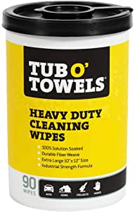 Tub O Towels TW90 Heavy-Duty 10″ x 12″ Size Multi-Surface Cleaning Wipes, 90 Count Per Canister