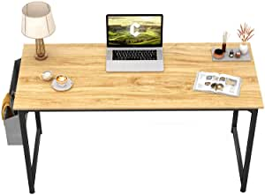 CubiCubi Computer Desk 47″ Study Writing Table for Home Office, Modern Simple Style PC Desk, Black Metal Frame, Walnut