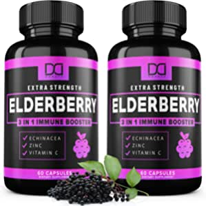 Elderberry Capsules with Zinc Vitamin C and Echinacea Black Elderberries Extract, Sambucus Elderberry Pills Vitamins for Adults Kids Toddlers for Immune System Support – Infused Syrup Supplement