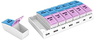 Ezy Dose Travel (7-Day) Pill, Medicine, Vitamin Organizer | Weekly, 2 Times a Day, AM/PM | Large Compartments | Colored Lids