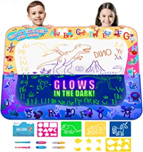 Kids Water Doodle Drawing Pad Mat Gift Toy Aqua Magic Board Set for Toddlers, Painting Coloring Writing Kit – Educational Tablet Toys for Girls Boys Age 3 – 12 Years, Mess Free Pens Markers