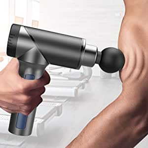 Massage Gun, Handheld Percussion Massager Guns Deep Tissue for Body Muscle, Cordless Electric Fascia Blaster Pure Wave Massage Wand Tools with 6 Massage Heads 11 Speeds… (H2)