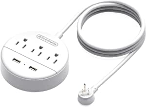 Power Strip with USB, NTONPOWER Travel Power Strip Flat Plug, 9.8 ft Extra Long Extension Cord, 3 Outlet 2 USB Desktop Charging Station Wall Mount for Home, Dorm Room, Office and Cruise Ship, White